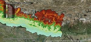 Elevation of the region surrounding Mount Everest