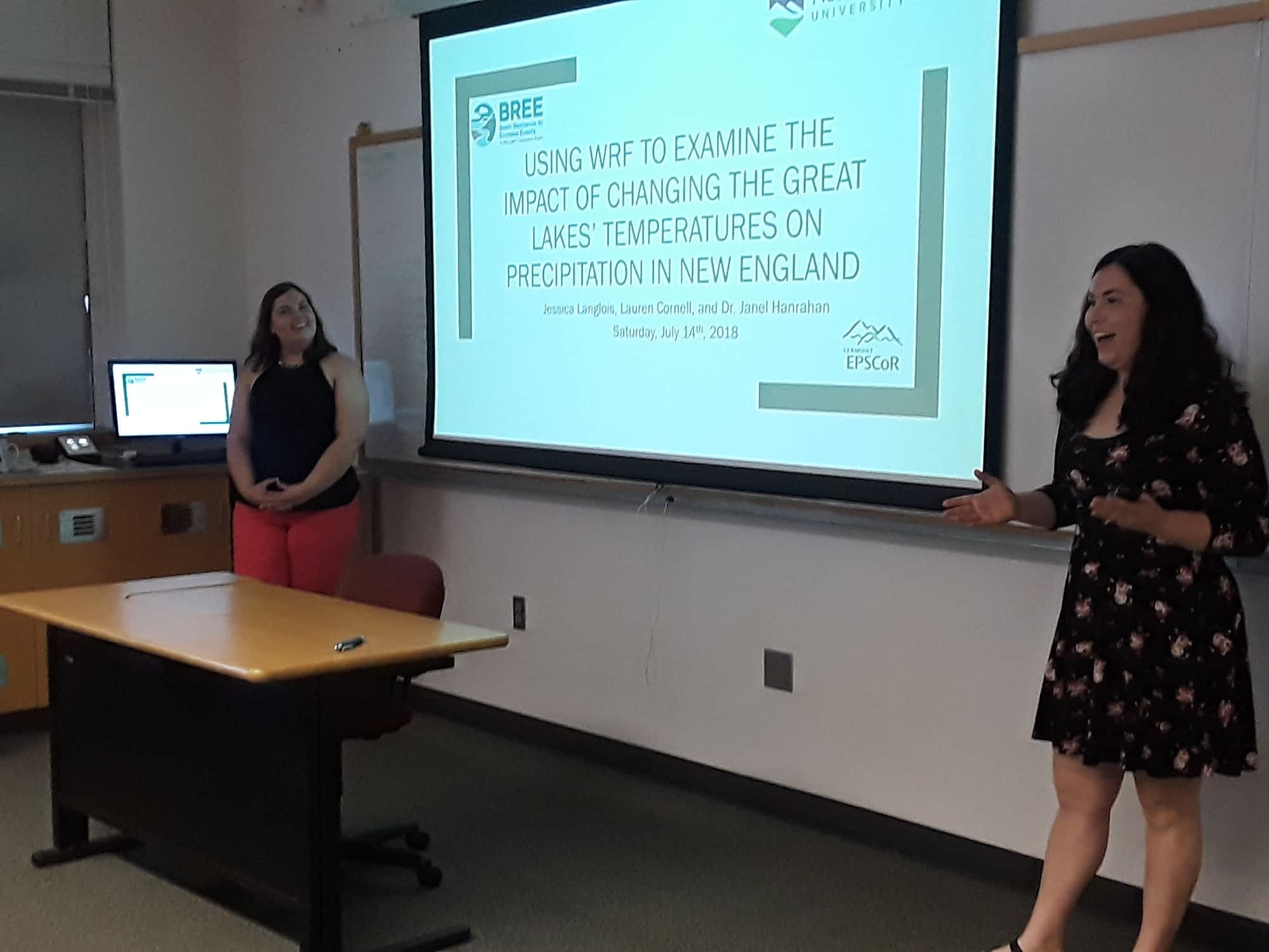 <br><br>Lauren Cornell and Jess Langlois<br>present their findings on how Great Lakes' water temperatures affect modeled downwind precipitation