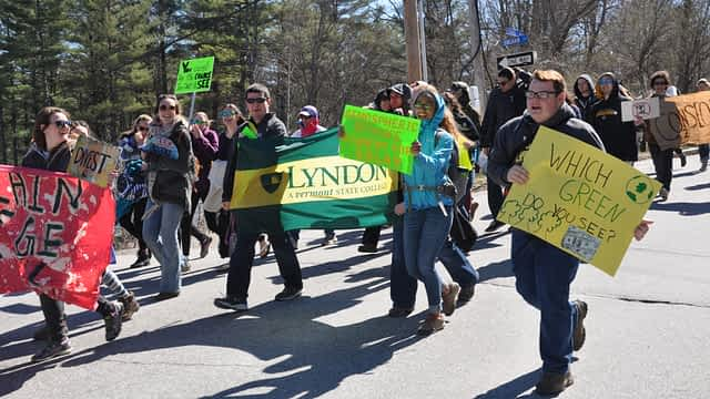 Students march during the 2016 Youth Rally for the Planet in Montpelier, VT