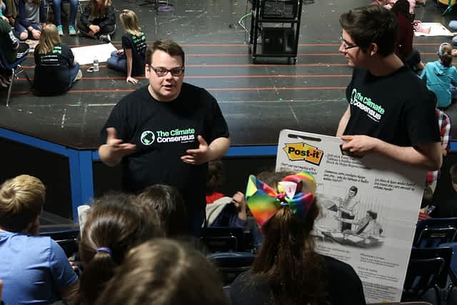 Jake Fortin (L) and Francis Tarasiewicz (R) talk to students at Danville School