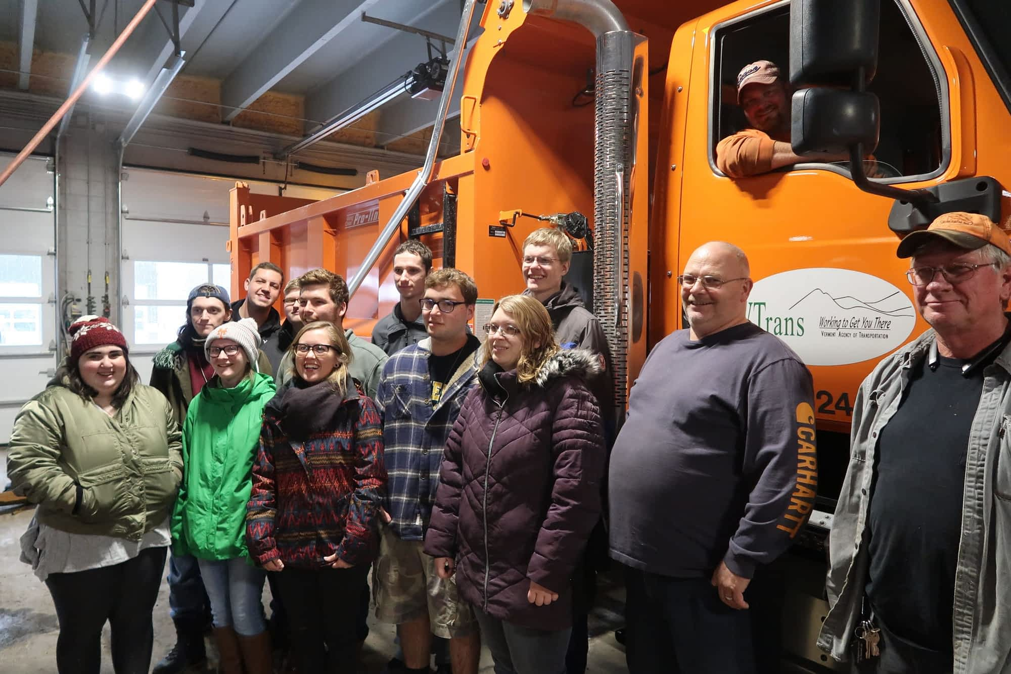 Students visit the Lyndonville VTrans garage on November 18, 2019