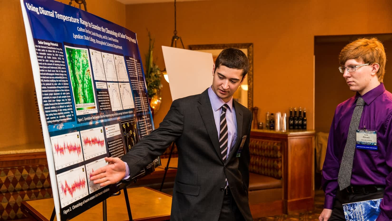 Colton Zercher explains his research at the 2016 Northeastern Storm Conference